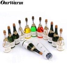 OurWarm Mini Champagne Bottle Soap Water Bubbles Bottle Green Transparent Bottles Decor Birthday Wedding Party Favors 24/48pcs