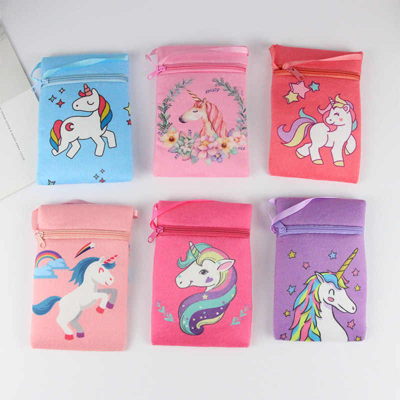 Cute Unicorn Coin Wallet Baby Girls Handbag Coin Purse Children Kids Mini Sling Crossbody Bags Cartoon Princess Bag Gift