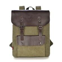 Hommes de marque sac à dos en cuir de vache toile sac à dos hommes commerciale à dos occasionnel sacs d'école pour hommes voyage sacs Vintage