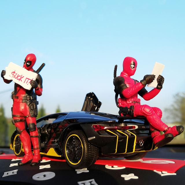 Marvel X-Men Deadpool Personality Car Ornament Action Figure Sitting Model Anime Mini Doll Car Decoration Car Accessories