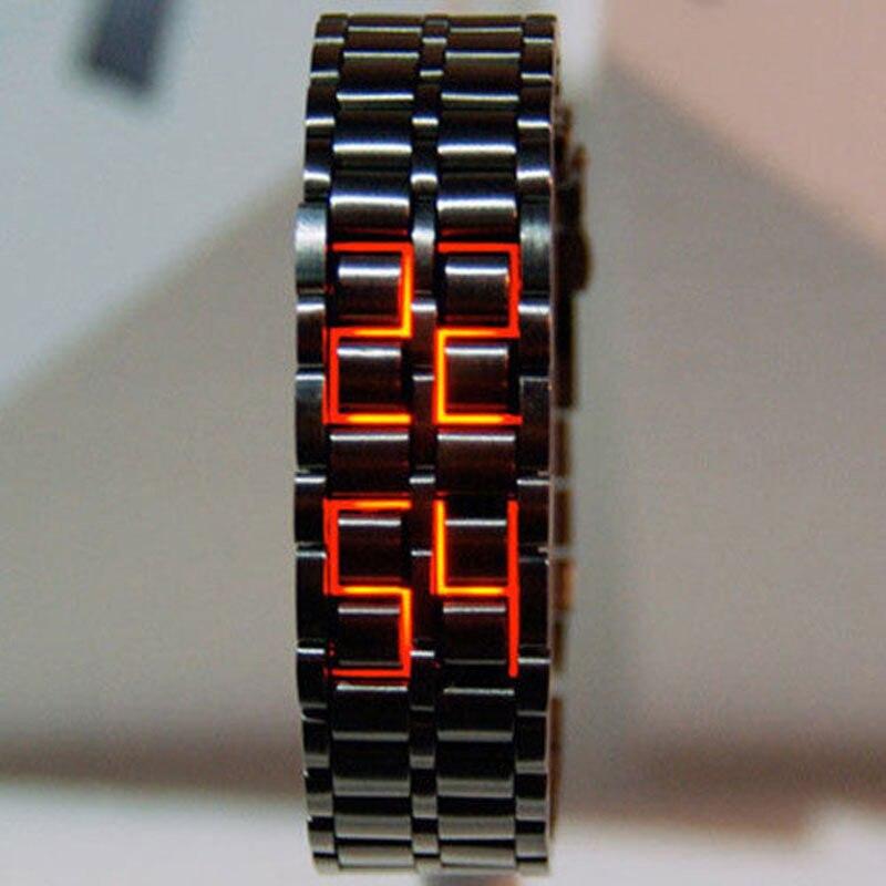 Модные черные полностью металлические цифровые наручные часы Lava, железные металлические красные светодиодные Самурайские часы для мужчин ...