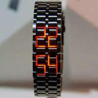 Fashion Black Full Metal Digital Lava Wrist Watch Iron Metal Red LED Samurai for Men Boy Sport Simple Wathes