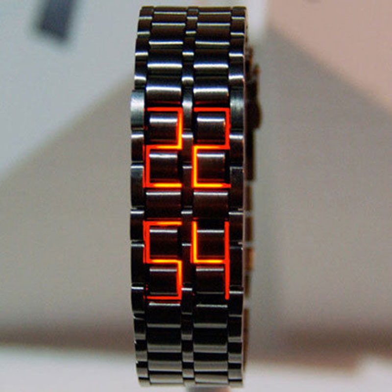Fashion Black Full Metal Digital Lava Wrist Watch Iron Metal Red LED Samurai for Men Boy Sport Simple Wathes