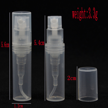 100pcs 2ml Empty Transpare Plastic Spray Refillable Perfume Bottle Scent Sample Bottles Atomizer for Travel Party Make Up Tool