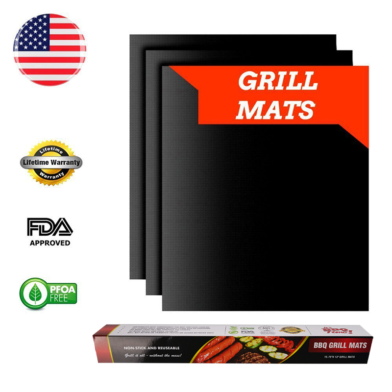 WALFOS 3 pieces Reusable BBQ Grill Mat Pad Sheet Hot Plate Portable Easy Clean Nonstick Bakeware Cooking Tool BBQ Accessories