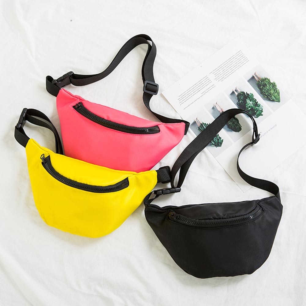 Fashion Children's Solid Nylon Adjustable Strap Waist Chest Sport Bag Crossbody Pouch Coin Money Phone Snack Fanny Pack For Kids