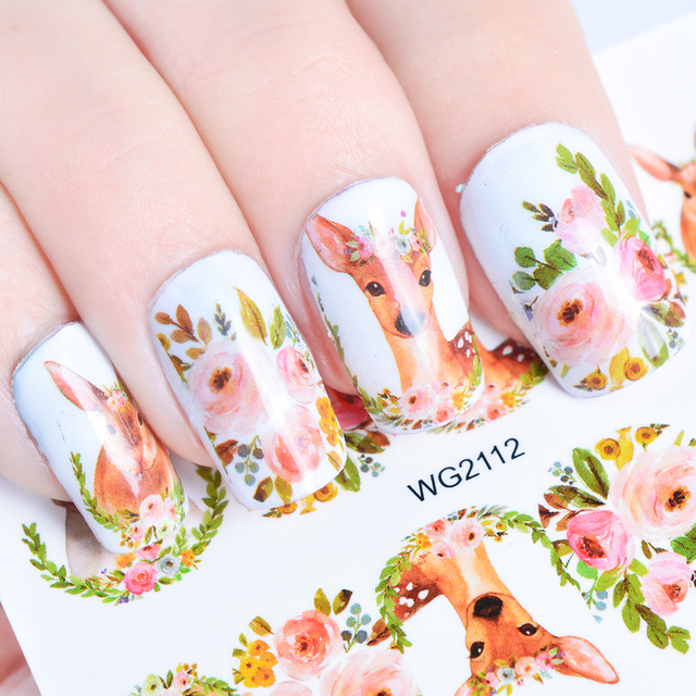 Full Beauty 1pc Nail Watermark Sticker Colorful Cat Pop Star Fashion Design Transfer Decal Image Nail Art Slider Decoration CHWG