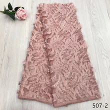 New arrival African Material Lace Flowers Chiffon French Net Fabric, 3D Applique Wedding Dresses 507