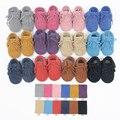 12 colores nuevo cuero genuino del ante mocasines bebé double borla arco zapatos de bebé suaves primeros caminante antideslizante infantil zapatos de la muchacha