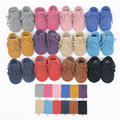 12colors New Genuine Leather suede Baby Moccasins Double Tassel bow Baby soft Shoes First Walkers Anti-slip Infant girl  Shoes