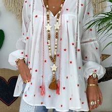 2019 Women's blouse V-neck Lantern Sleeve Shirt Lace Panel Cutout Print Shirt Women