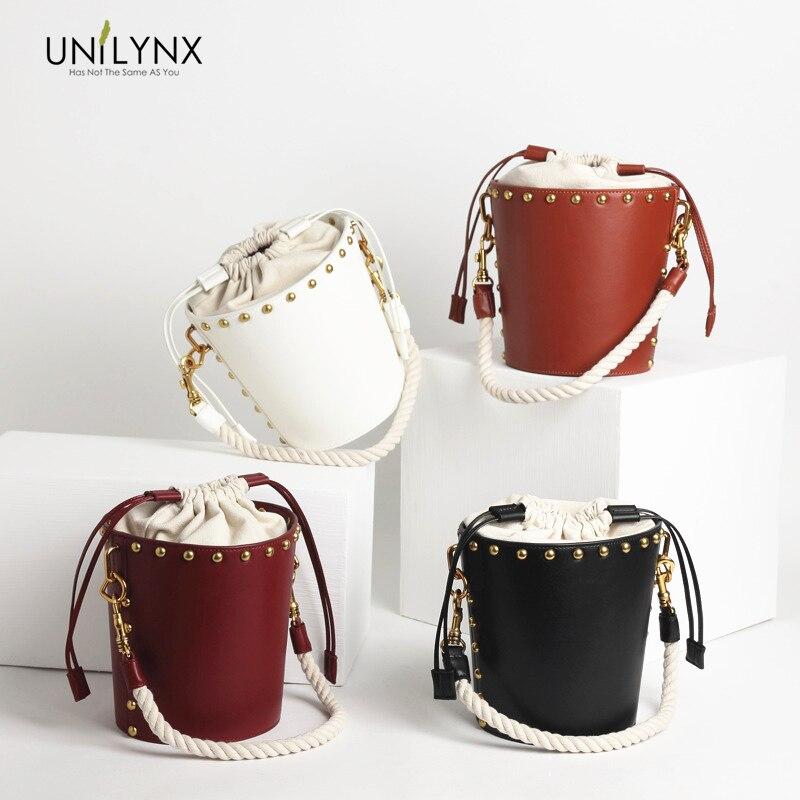 969b0d9a6de4 2018 Fashion Designer Ladies Quality Leather Female Bags Rivet Bucket Bag  Handbag Larger Women Bags Shoulder