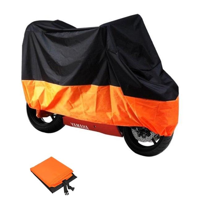 L Size Black Orange Motorcycle Cover Outdoor Protection Rain Snow Dust UV Resistant Weatherproof Motor Bike Scooter 220*95*110cm