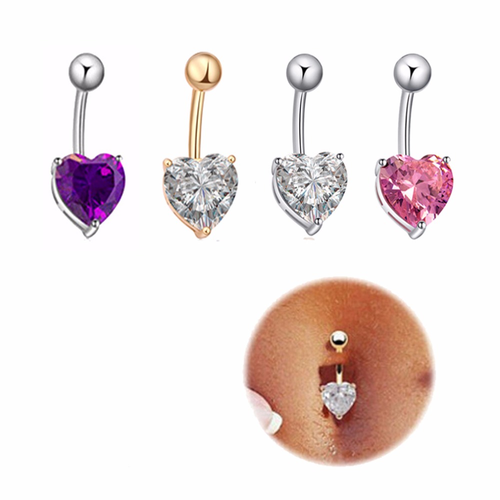 Jewelry amp watches gt fashion jewelry gt body jewelry gt body piercing - 4 Pcs Women Bell Button Rings Body Piercing Heart Shape Naval Ring Crystal Sexy Looking Summer