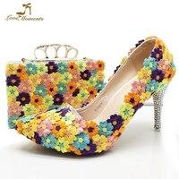 Острый носок 8 см высокий каблук Свадебная обувь с сумочкой многоцветный кружевное платье с цветочным рисунком женские выходные туфли лодо