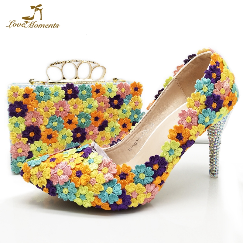 Pointed Toe 8cm High Heel Wedding Bridal Shoes with Purse Multicolor Lace Flower Women Party Prom Pumps Bridesmaid Shoes Clutch цена