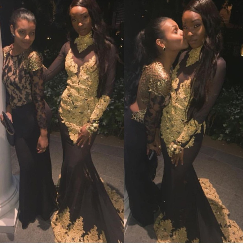 Us 13992 12 Offsexy See Through Black And Gold Mermaid Prom Dress Long Sleeve 2019 Black Girls African High Neck Lace Appliques Evening Dresses In