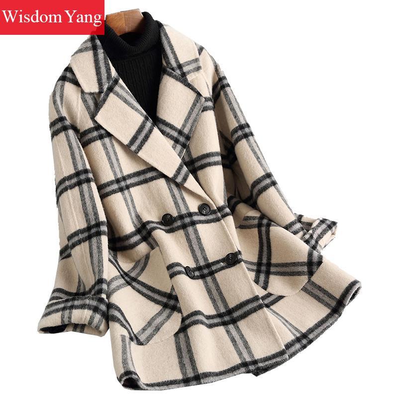 Winter Warm Coat Beige Grey Plaid Sheep Wool Short Coats Women 2019 Oversize Vintage Woolen Office Ladies Overcoat Outerwear
