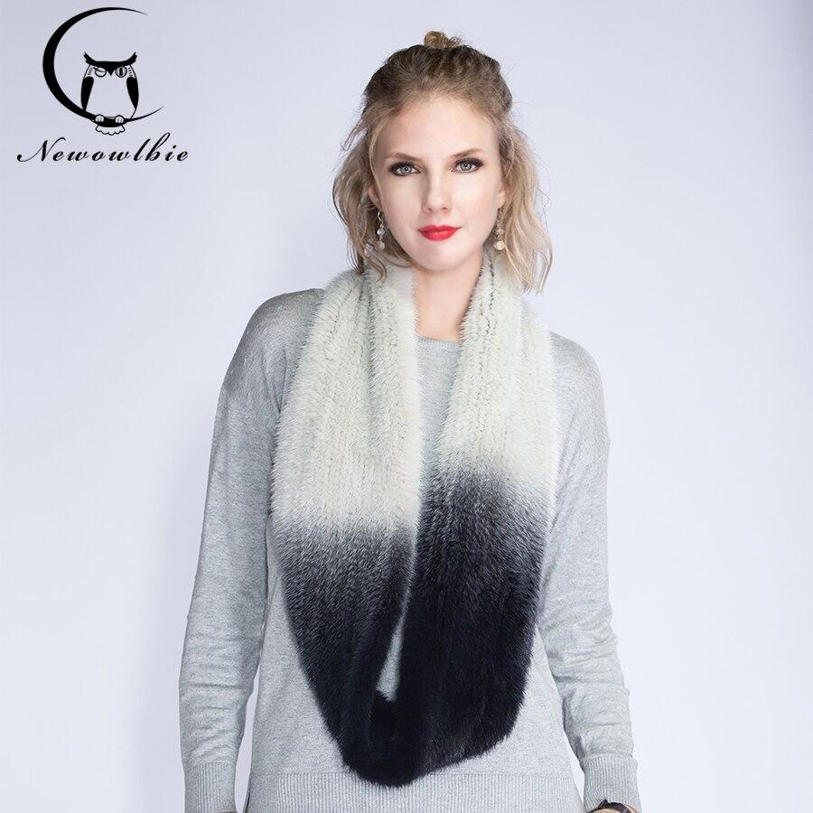 Le nouveau importé vison tricoté écharpe gradient élastique cryptage épaissie élastique extension réel de fourrure de vison écharpe