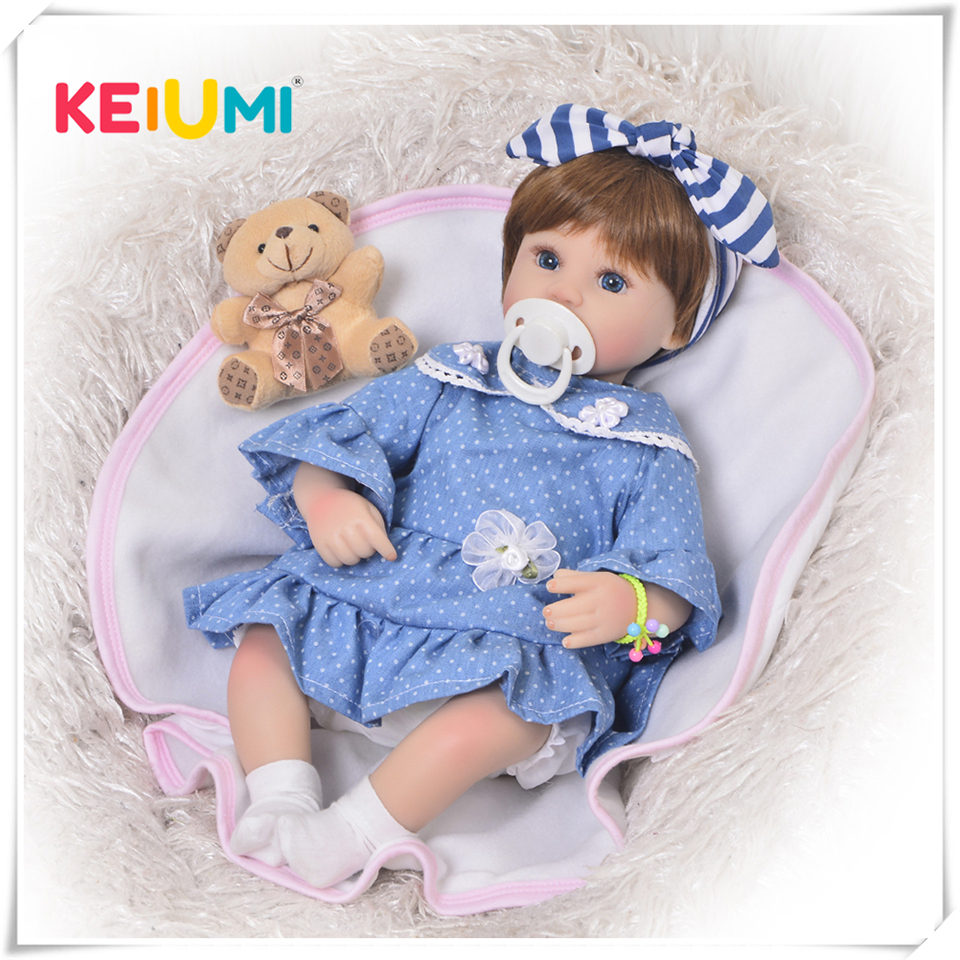 17 Inch Fashion Realistic Reborn Baby Doll Babies Soft Body Silicone Vinyl Gift Toys For Kids