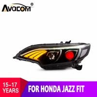 Автомобильный свет для Honda JAZZ светодио дный фары 2014 2015 для Honda FIT налобный фонарь с дневным ходовые огни Bi Xenon Fit лампа автомобиля Стайлинг