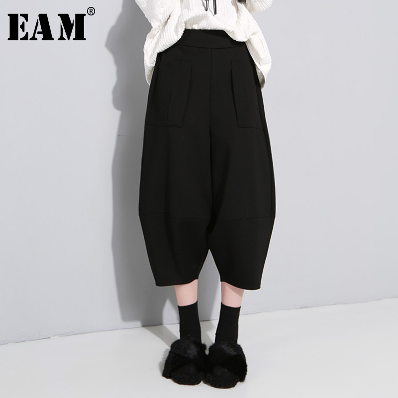 [EAM] 2019 New Autumn Winter High Elastic Waist Pocket Black Leisure Loose Wide Leg Pants Women Trousers Fashion Tide JU184