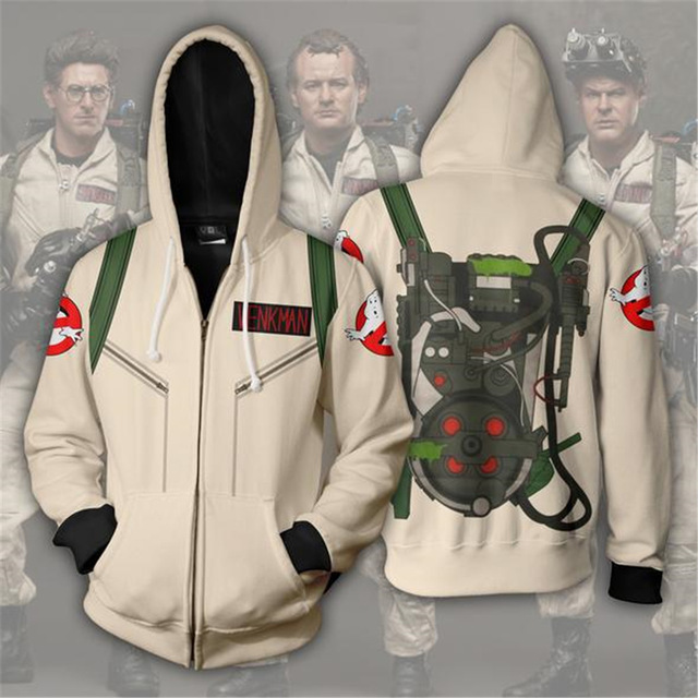 BIANYILONG 2019 NEW Men Hooded SPENGLER 3D Printed Hoodies Casual Zipper Hoodie Hooded Ghostbusters Cosplay Zip Up Hoodie