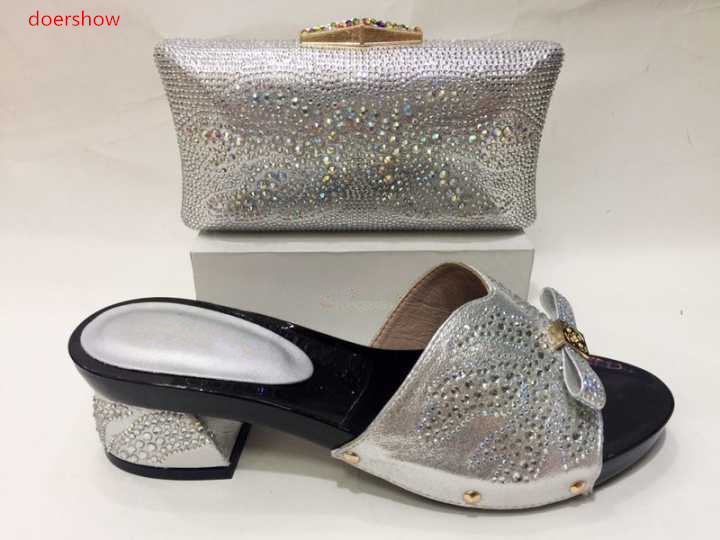 doershow Latest Style African Shoes And Bag Set New Italian High Heels Shoes And Matching Bag Set For Party Dress   KH1-23 capputine new arrival fashion shoes and bag set high quality italian style woman high heels shoes and bags set for wedding party