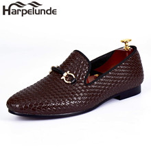 Harpelunde Woven Leather Men Wedding Shoes Brown Buckle Strap Flat Handmade Loafers Size 7-14