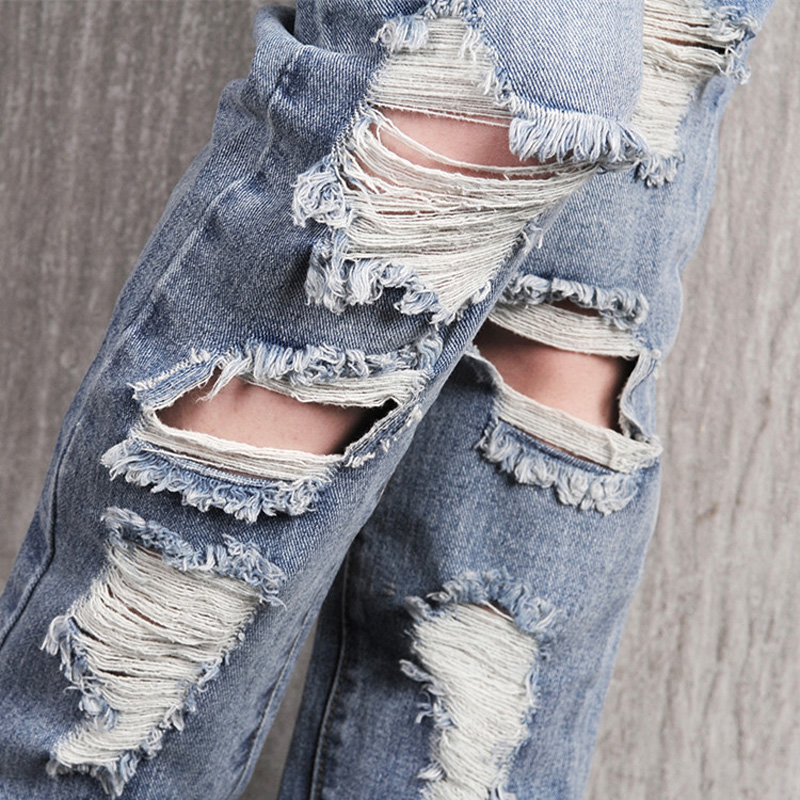 Sokotoo Women's loose plus large size ripped jeans Lady's boyfriend jeans for women Female casual hole denim pants Free shipping