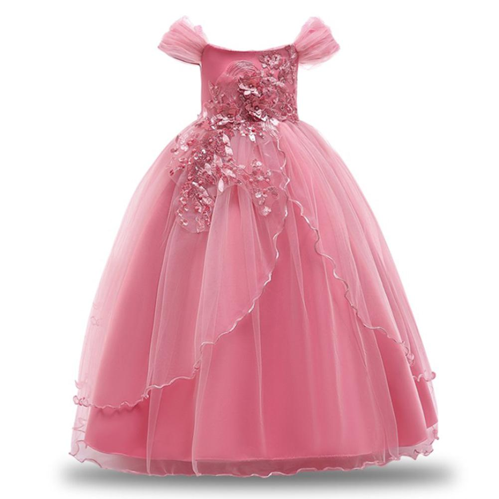 Yiwa   Girl   Off Shoulder Princess   Dress     Flowers   Long Skirt for Stage Performance Wedding Party Christmas Costume Party Children Kids Clothing
