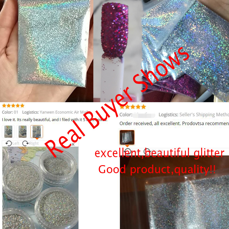 0 2mm 1 128 008 Holographic Powder 50g Holographic Powder Nail Glitter 18 Color Lace Holographic Powder Nail Shining Powder in Nail Glitter from Beauty Health