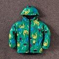 Nuevo estilo de Invierno de los niños Con Capucha Impermeable dinosaurios Lindos niñas bebés abrigo de invierno outwear niños tops ropa de marca de moda verde