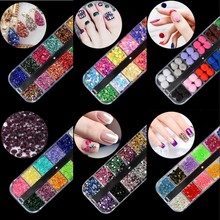 New! 1 Wheel Glass Micro Rhinestones Glitter Nail Sequins 12 Colors Crushed Stones For UV Gel Polish Decorations Accessories R04 koy r04 jk71