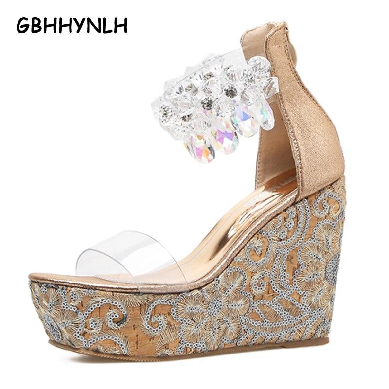 GBHHYNLH rhinestone Sandals Wedges shoes Platform sandals High Heels wedding Shoes peep toe Platform shoes Wedges sandals LJA219