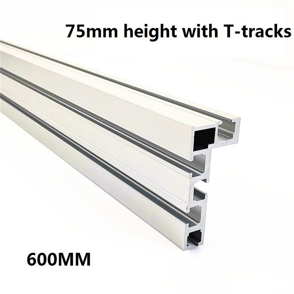 T-track 600mm 75 Type T-Slot Woodworking Backer Aluminium Table Saw Woodworking Workbench DIY Modification For Fence 75mm Height