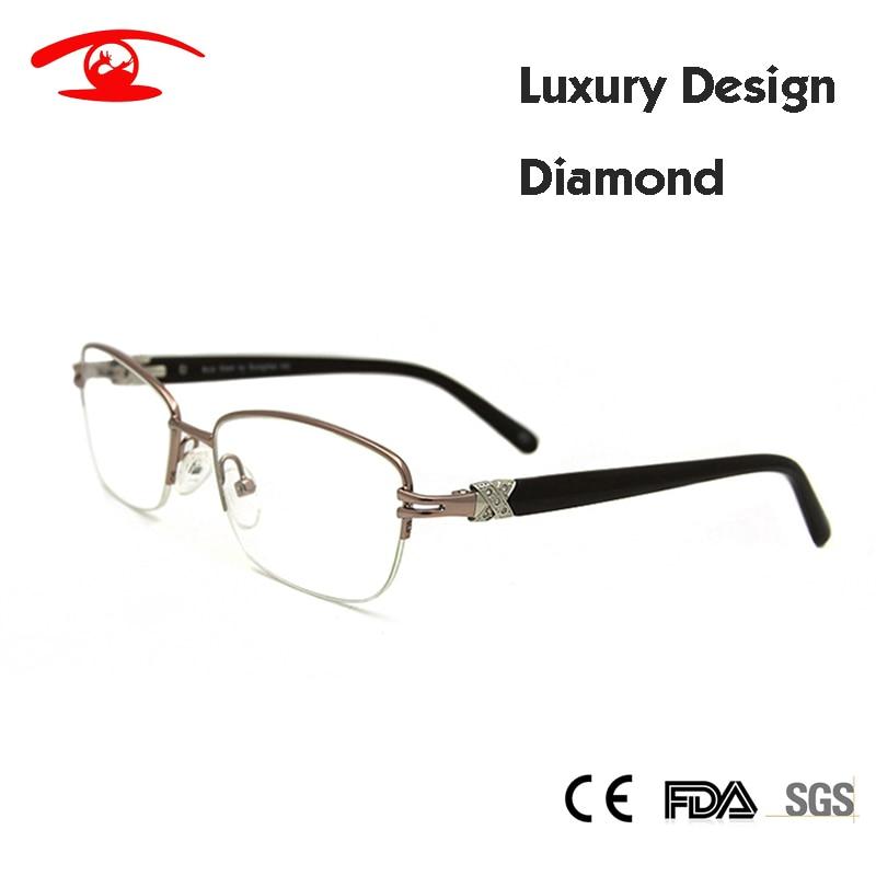 5b2749af6b Wholesale (5pcs lot)Brand Designer Womens Eyeglasses Frame Diamond Half  Frame Glasses oculos de grau feminino Clear Glass-in Eyewear Frames from  Women s ...