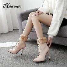 MAIERNISI women boots 2019 New Fashion Belt Buckle Short Boots Knight Thin Heel Martin Boots Shoes fur Boots bota feminina cross straps belt buckle faux fur short boots