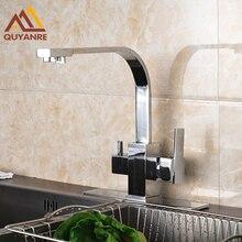 Хром польский чистой воды смеситель для кухни Поворотный носик очистки смеситель очищенной водой Outlet