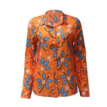 Womens Roll Up Long Sleeves Chiffon Blouse Boho Colored Floral Printed V-Neck Loose Tops Open Front Button Down High Low Curved womens plus size roll up long sleeve metallic pineapple printed stand collar blouse button down v neck casual loose tops