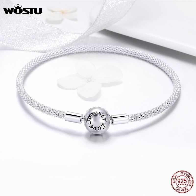 WOSTU 100% 925 srebro oryginalne bransoletki Snowflake niebieskie oczy cyrkon łańcuch Fit kobiety bransoletka i bransoletka luksusowe biżuteria