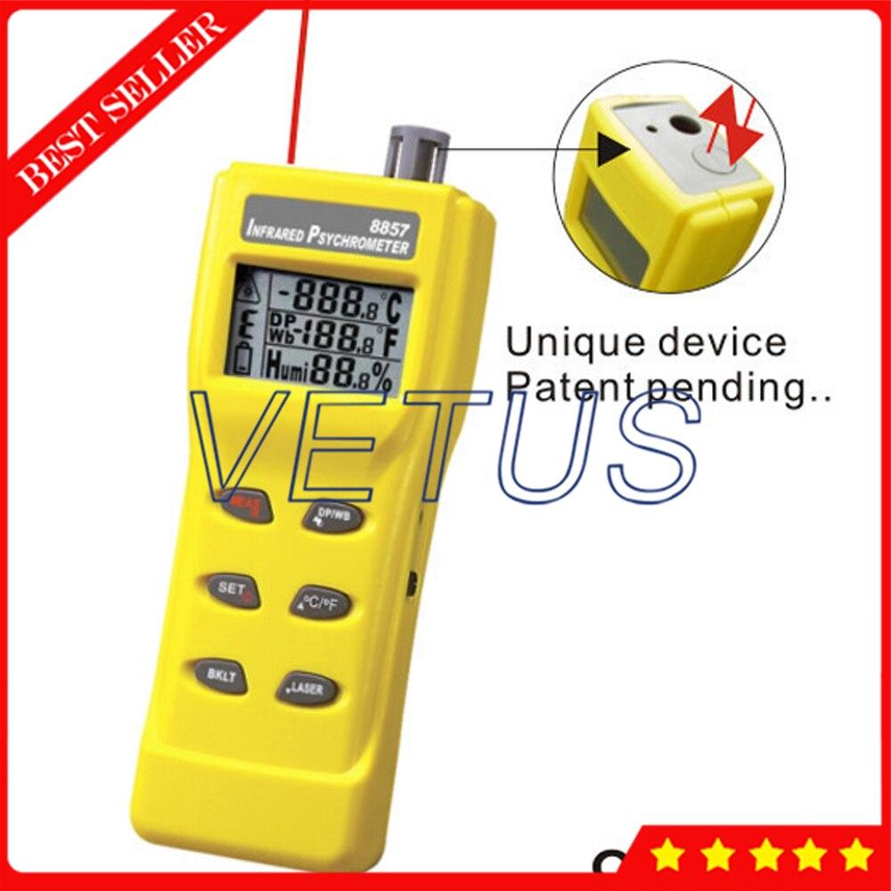 AZ8857 Digital Handheld Non Contact IR Thermometer Hygrometer Psychrometer IR Temp Range 40C to 500C Infrared