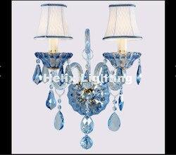Nowoczesna europejska niebieski kolor K9 kryształ kinkiet luksusowe sypialnia lampki nocne ściany świeca E14 K9 kryształowe ściany Scones AC 100% zagwarantowane-rentalcars.com