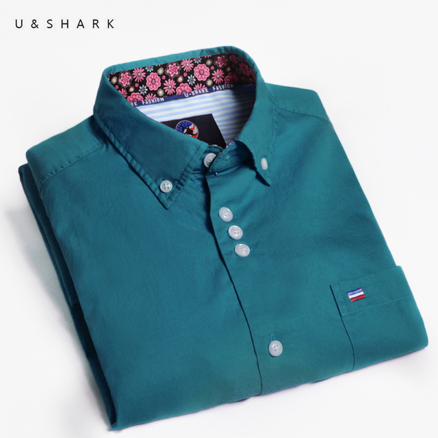 Korean Stylish Pure Blue Twill Shirt Long Sleeve Camisa Social Mens Dress Shirts U&Shark High Quality Slim Fit Casual Male Shirt