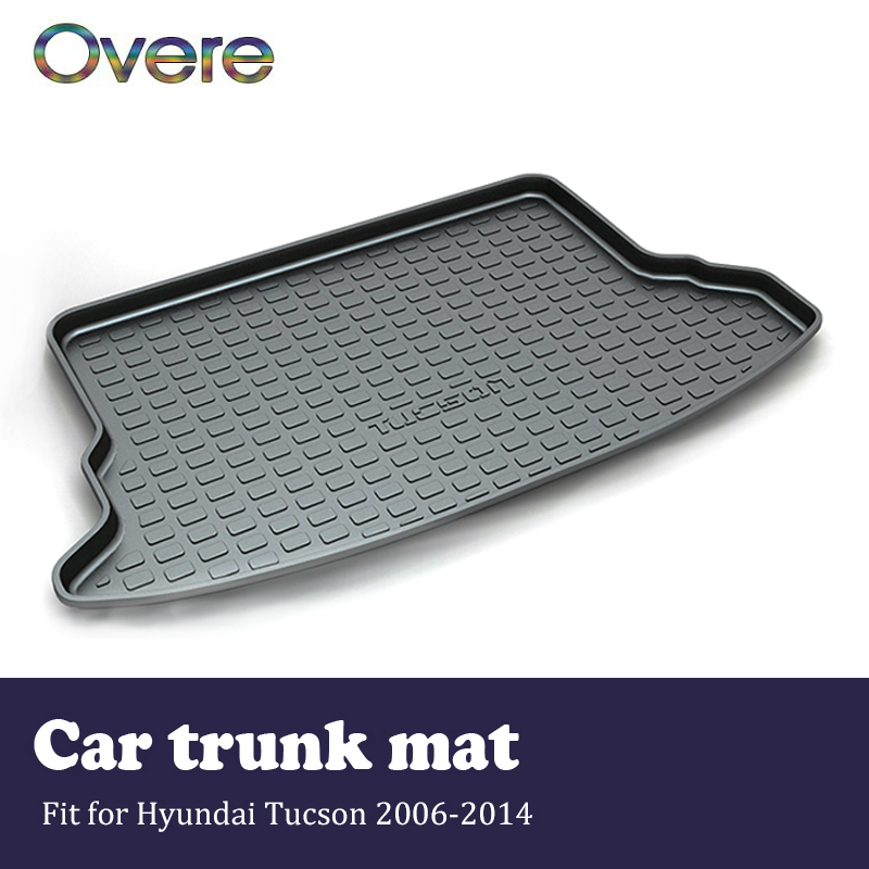 Overe 1Set Car Cargo rear trunk mat For Hyundai Tucson 2006 2007 2008 2009 2010 2011 2012 2013 2014 Boot Tray Carpet Accessories for hyundai tucson 2006 2007 2008 2009 2010 2011 2012 2013 2014 waterproof anti slip car trunk mat tray floor carpet pad