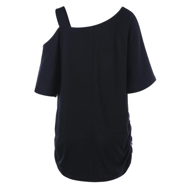 CharMma Plus Size 5XL Skew Collar Skull Print T-shirt Women Summer One Shoulder Loose Top Tee Shirt Sexy Big Size