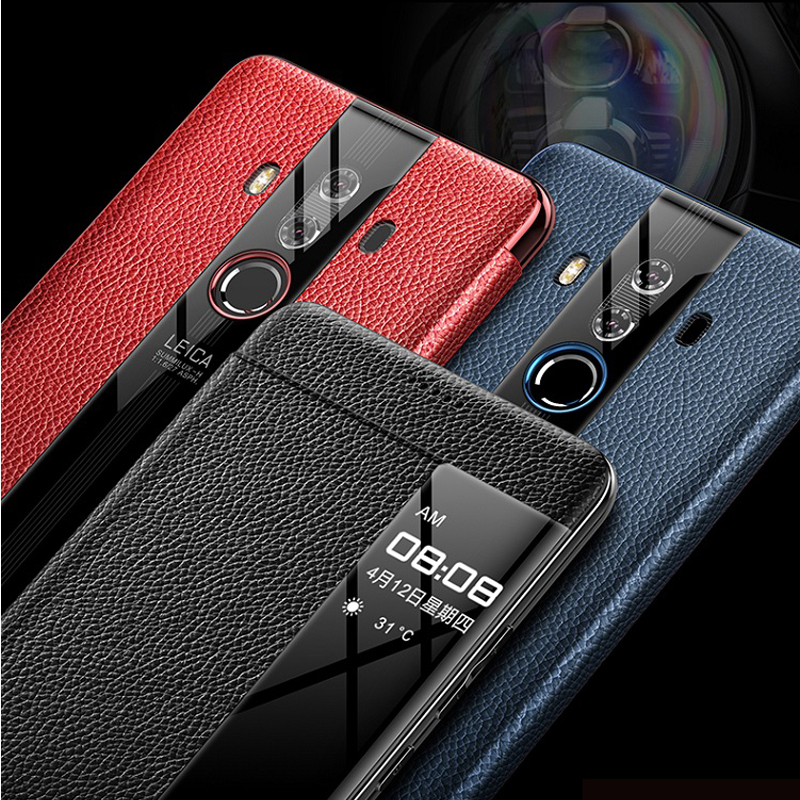 Image 4 - For Huawei Mate 10 Pro 9 pro Genuine leather case Phone protection windows view true flip leather case cover for huawei mate 10-in Flip Cases from Cellphones & Telecommunications