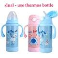 Dual-Uso de Isolamento de Aço Inoxidável Garrafa de Alimentação Do Bebê Garrafas de Leite Copo Palha Criança Bebê Portátil Garrafas De Água Dos Desenhos Animados copo
