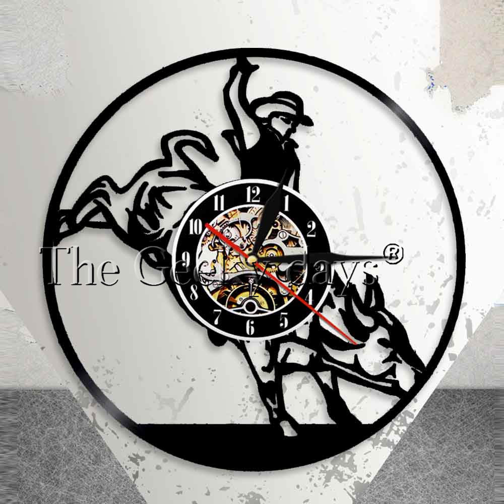 Wild West Bull Rider Vintage Western Wall Clock Cowboy Vinyl Record Wall Clock Rodeo Decorative Clock Modern Design Home Decor