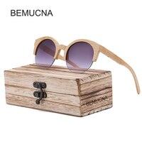 BEMUCNA Cat Eye Sunglasses Women Brand Designer 2017 Semi Rimless Wood Sunglasses Men Bamboo Sun Glasses